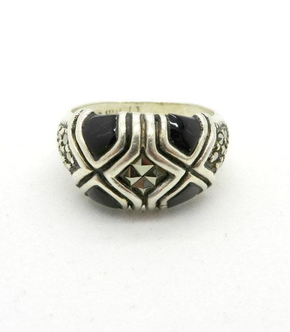 black onyx marcasite ring vintage sterling silver domed