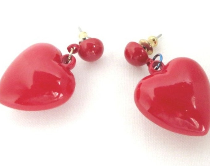 Vintage Heart Earrings - Dangling Red Heart Pierced Earrings, Lucite Studs, Perfect Gift, Gift Box, FREE SHIPPING