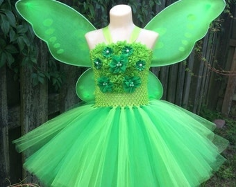 Tinker bell tutu dress/ tinker bell costume/ fairy tutu dress/ fairy costume/ tinker bell tutu/ Halloween costume/ tutu costume