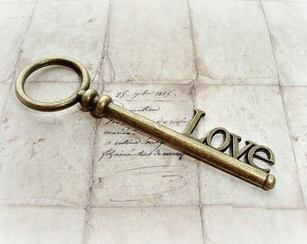 "2 Antique Bronze ""LOVE"" Key Pendant Charm"