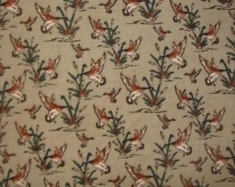 Wild Flying Ducks on Beige  cotton fabric BTY