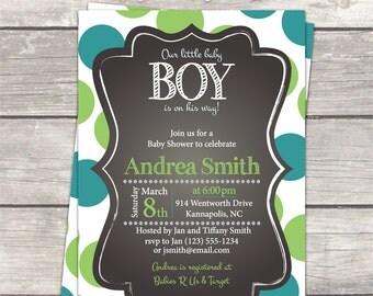boy baby shower invitation, polka dot teal green chalkboard, custom designed printable digital invitation files