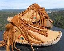 Beaded Moccasins, Handmade Fringe Moccs, Hand Beaded Rainbow, Natural Leather Shoes, Boho Fashion, Earthing, Grounding, Hippie, Festival