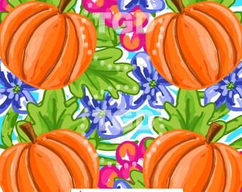 Preppy Pumpkin Design digital paper - Original Art download, pumpkin digital paper, preppy download, Island Collection, autumn digital paper