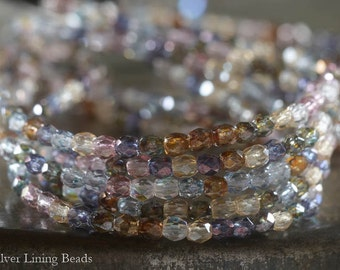 Pastel Bits (50) - Firepolished Czech Glass Bead - 3mm - Faceted Round