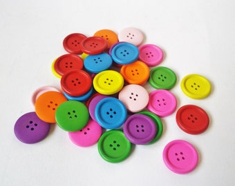 Wooden Buttons 25 mm - mixed of colours