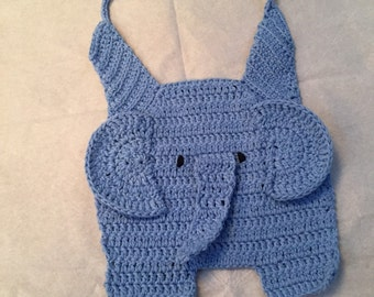100% Cotton Elephant Bib - Light Blue