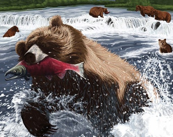Grizzly Bear Fishing (Art Prints available in multiple sizes)