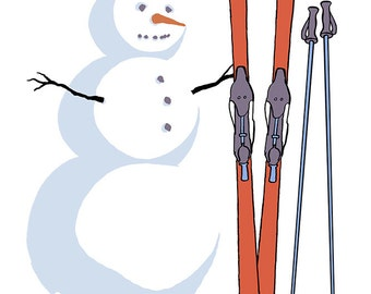Virginia - Snowman with Skis (Art Prints available in multiple sizes)