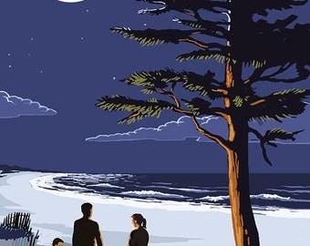 Lake Michigan - Bonfire at Night Scene (Art Prints available in multiple sizes)