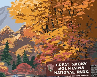 Park Entrance and Bear Family - Great Smoky Mountains National Park, TN (Art Prints available in multiple sizes)