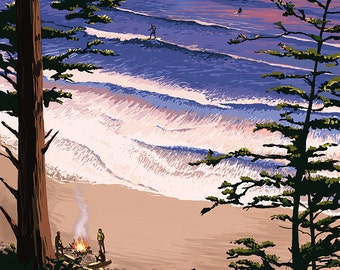 Newport, Oregon - Sunset Beach and Surfers (Art Prints available in multiple sizes)