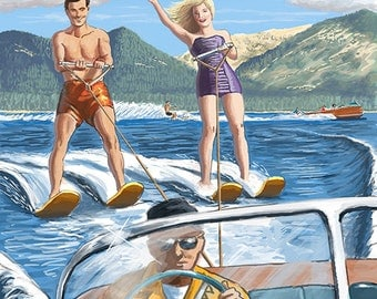 Lake George, New York - Waterskiers and Boat (Art Prints available in multiple sizes)