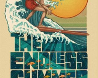 The Endless Summer - Underwater Scene - Santa Cruz, CA (Art Prints available in multiple sizes)
