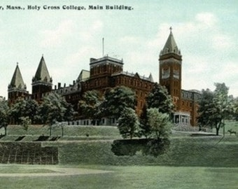 Worcester, Massachusetts - Exterior View of Holy Cross College Main Building (Art Prints available in multiple sizes)