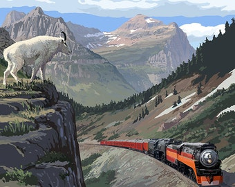 Glacier National Park, Montana - Great Northern Railway (Art Prints available in multiple sizes)
