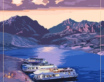 Nevada - Lake and Houseboats (Art Prints available in multiple sizes)