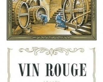 Vin Rouge Wine Label (Art Prints available in multiple sizes)