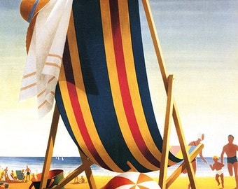 Bethany Beach, Delaware - Beach Chair and Ball (Art Prints available in multiple sizes)