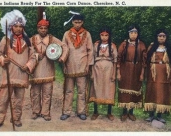 North Carolina - Cherokee Indians Ready for Green Corn Dance (Art Prints available in multiple sizes)