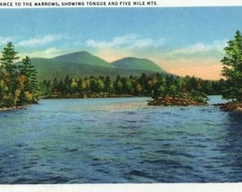 Lake George, New York - Narrows Entrance, Tongue and Five Mile Mountains (Art Prints available in multiple sizes)