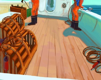 Lobster Boat Fishing (Art Prints available in multiple sizes)