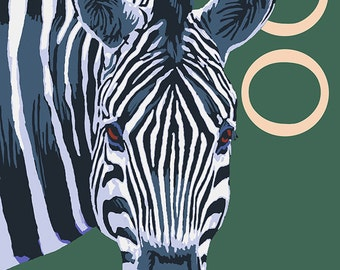 Visit the Zoo - Zebra Profile (Art Prints available in multiple sizes)