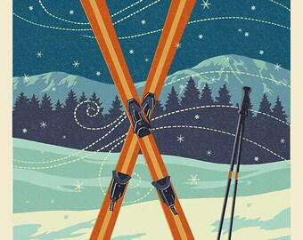 Gore Mountain, New York - Crossed Skis - Letterpress (Art Prints available in multiple sizes)