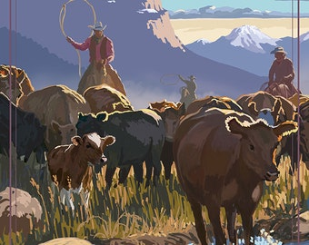 Cowboy Cattle Drive Scene (Art Prints available in multiple sizes)