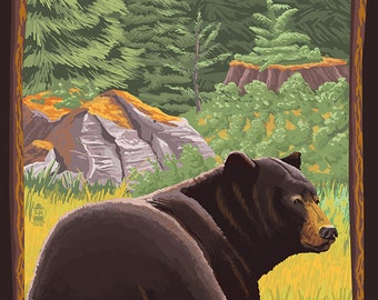 Ellijay, Georgia - Black Bear in Forest (Art Prints available in multiple sizes)