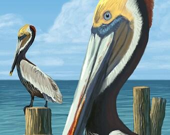 Sanibel Island, Florida - Pelican (Art Prints available in multiple sizes)