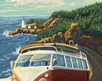 Heceta Head Lighthouse and VW Van (Art Prints available in multiple sizes)