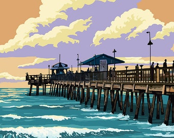 Holden Beach, North Carolina - Fishing Pier (Art Prints available in multiple sizes)