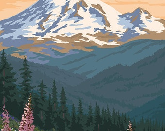 Bear Family and Spring Flowers (Rainier Background) (Art Prints available in multiple sizes)