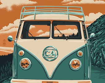 Sonora, California - Road Trip VW Van (Art Prints available in multiple sizes)