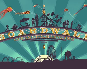 Ocean City, Maryland - Boardwalk Sign (Art Prints available in multiple sizes)