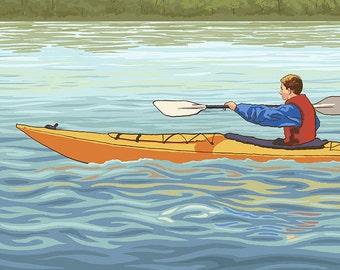 Mirror Lake, New Hampshire - Kayak Scene (Art Prints available in multiple sizes)