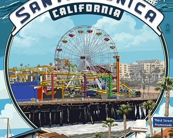 Santa Monica, California - Montage Scenes (Art Prints available in multiple sizes)