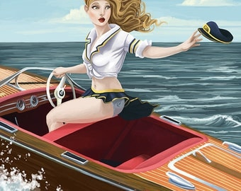 Lake Winnipesaukee, New Hampshire - Pinup Girl Boating (Art Prints available in multiple sizes)