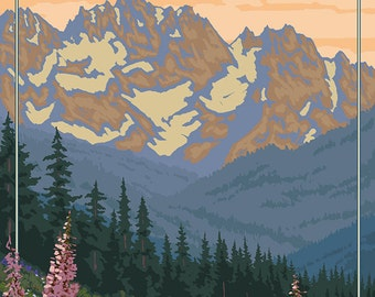 Olympic National Park - Bear Family and Spring Flowers (Art Prints available in multiple sizes)