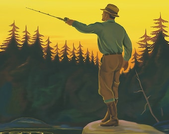 New Hampshire - Fisherman (Art Prints available in multiple sizes)
