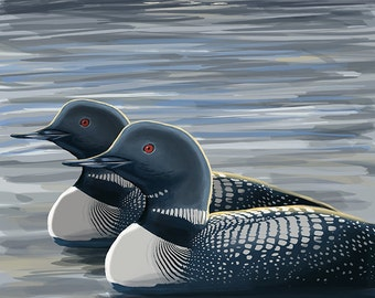 New Hampshire - Common Loon (Art Prints available in multiple sizes)