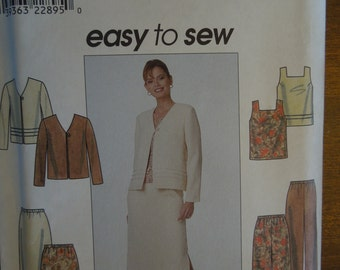 Simplicity 8663, Size 12-16, misses, womens, UNCUT sewing pattern, jacket, top, pants, skirt, craft supplies