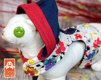 Ready to Ship - XXXS Small Pet / Ferret / Small Dog / Guinea Pig / Hoodie Harness - Natural Floral