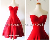 Cherry Red STRAPLESS Cherrybomb Swing Dress by Hardley Dangerous Couture,  ROCKABILLY Bridesmaid Dress, 1950s Pin Up Bridesmaid