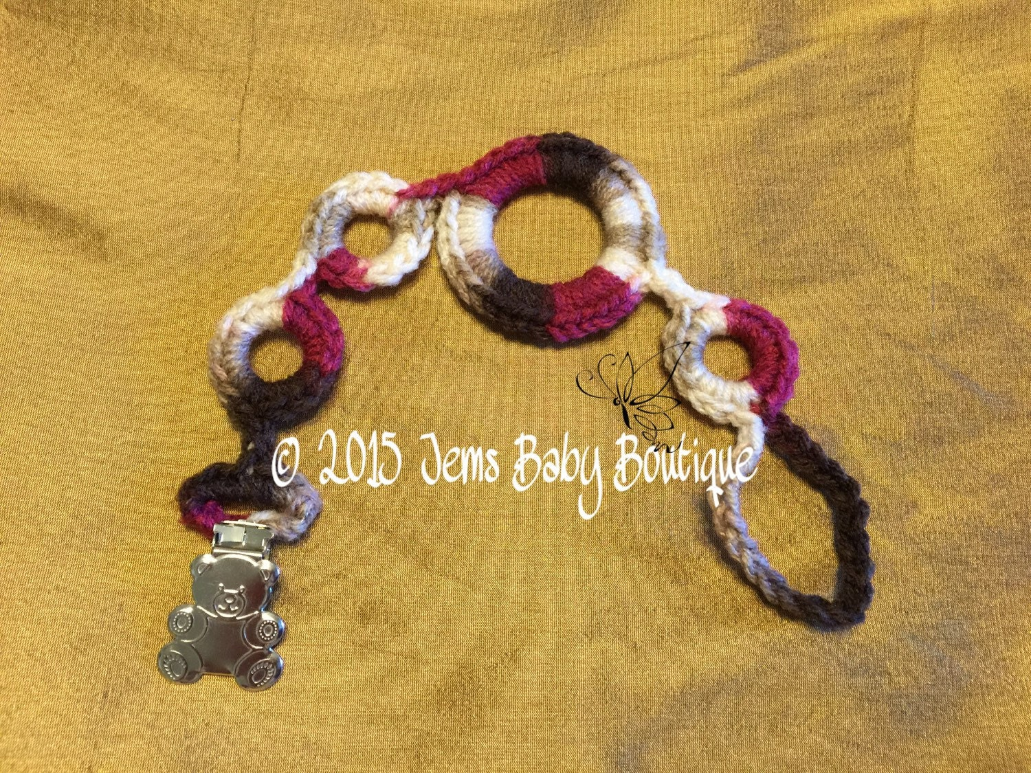 Crochet pacifier holder with bear clasp Ready to Ship