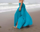 BUTTERFLY FLOW teal blue green wide leg elegant rayon or cotton palazzo gaucho yoga dance resort lounge beach pants with fold over waist