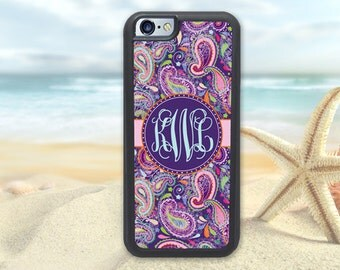 Monogrammed iPhone 6 Case - Purple Paisley - iPhone 6S Case I6S