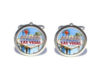 USA America Las Vegas Cufflinks, Birthday, Father's Day, Wedding Cufflinks, Anniversary Gifts for Men, Gifts for Dad, Geeky Gift
