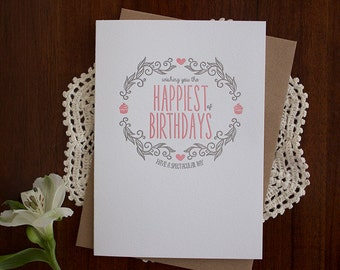 Happiest of Birthdays Pink - Letterpress Card